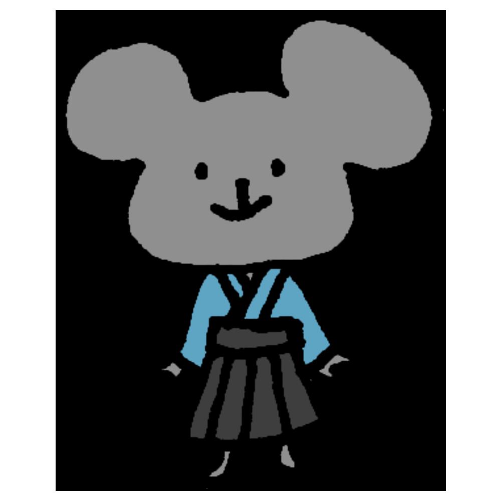 袴を着て立っているネズミのフリーイラスト
