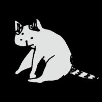猫,ネコ,手書き風,動物,チョイチョイ,触る,いじる,習性,にゃんこ,哺乳類,座る,しっぽ,白猫,トラ,ねこ