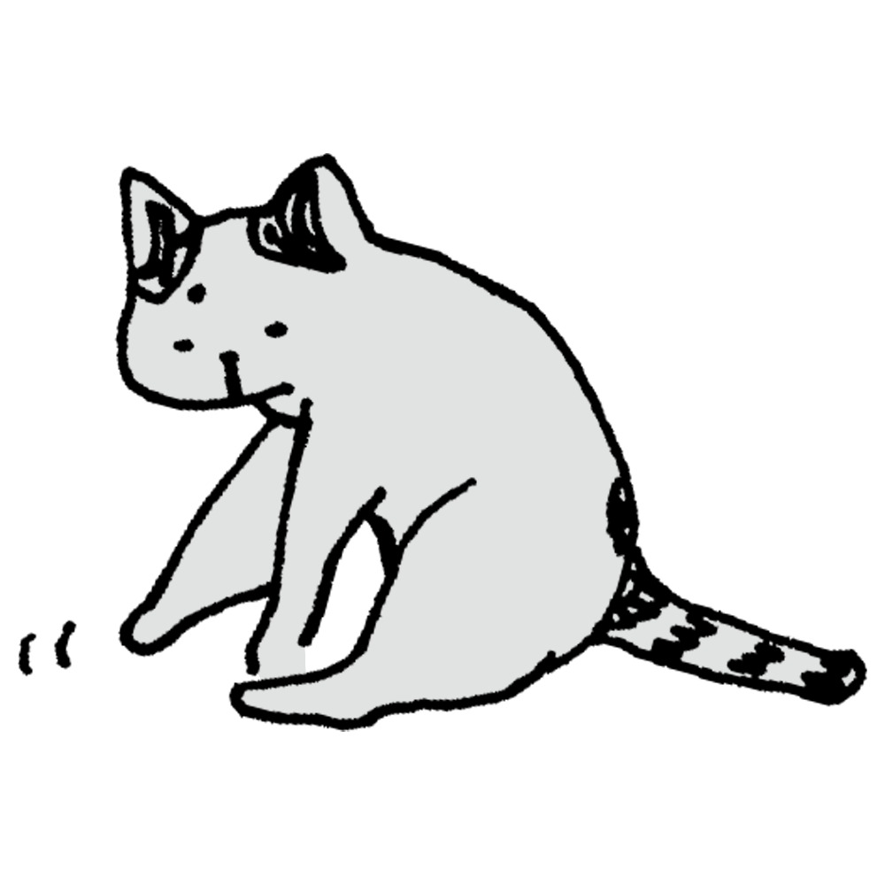 何かをチョイチョイするネコのフリーイラスト