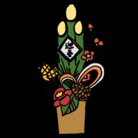 手書き風,植物,椿,つばき,ツバキ,花,縁起物,おめでたい,年賀状,お正月,お飾り,飾り,元旦,冬,門松,かどまつ