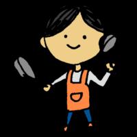 手書き風,人物,フライパン,おたま,調理器具,料理,クッキング,エプロン,調理,女性,作る,お料理,教室,料理上手,料理番組
