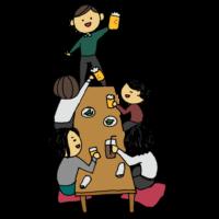 飲み会をする人たちのフリーイラスト