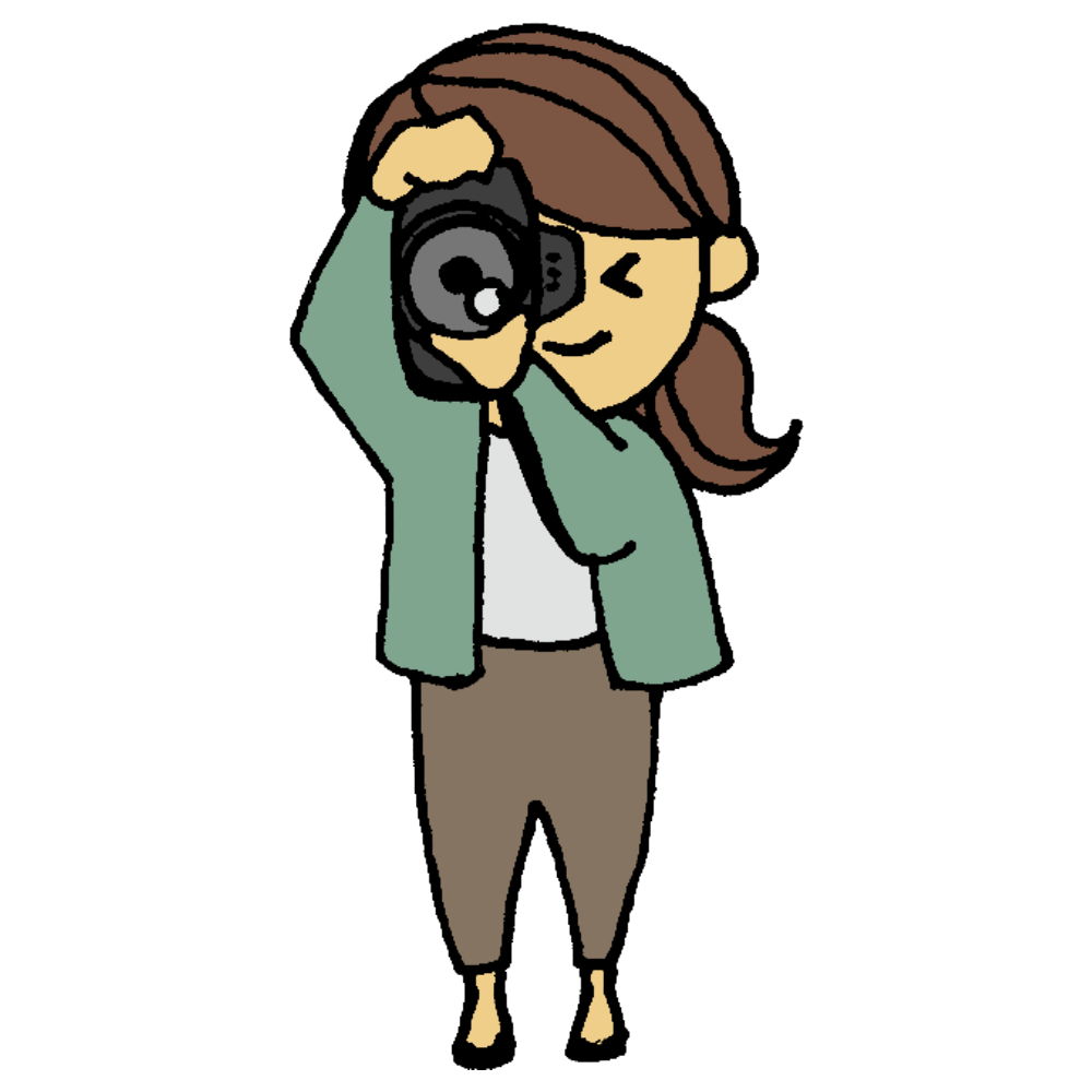 カメラを縦向きに構える女性のフリーイラスト