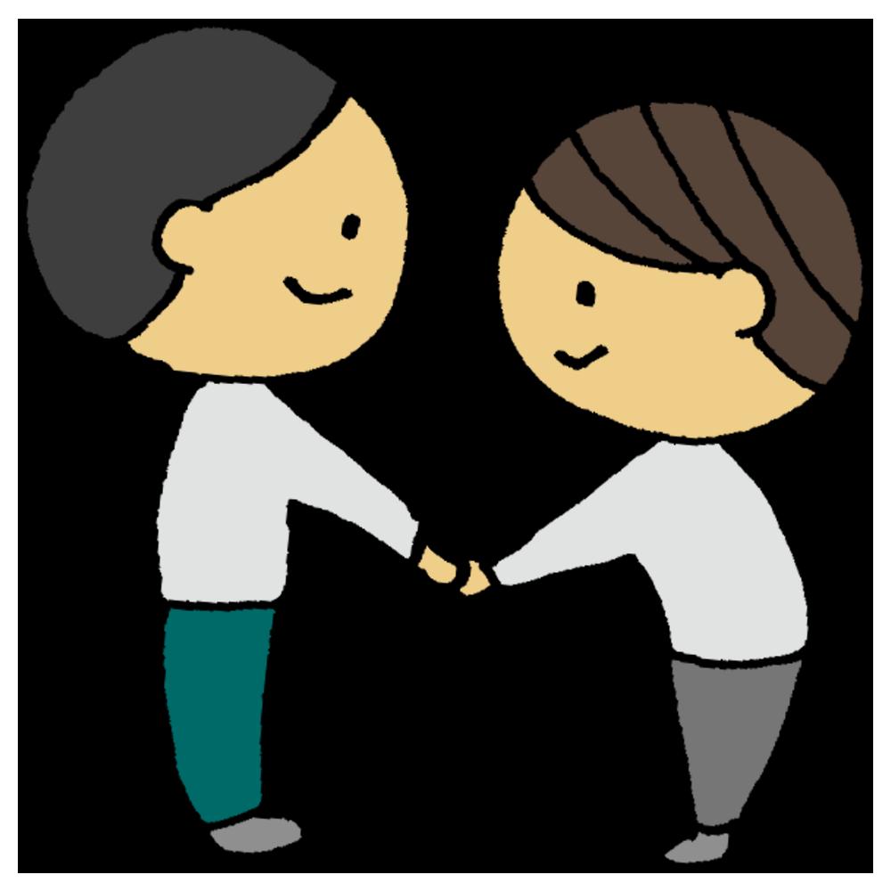 手書き風,人物,男性,握手,挨拶,初対面,仲良し,よろしくお願いします,横向き,対面,はじめまして