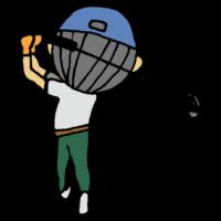 手書き風,人物,男性,ゴルフ,後ろ姿,後姿,ドライバー,打つ,ボール,球技,部活,大人,スポーツ,運動,帽子,キャップ,ゴルフクラブ