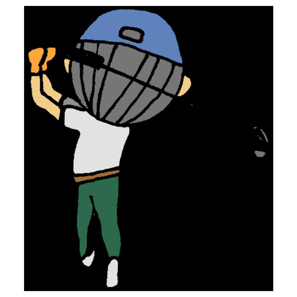 ゴルフをする後姿の男性のフリーイラスト