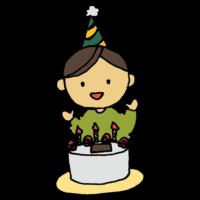 手書き風,人物,男の子,誕生日,ケーキ,パーティー,生まれ,誕生日ケーキ,おたんじょうびおめでとう,喜ぶ,嬉しい,お祝い,めでたい,ローソク,苺,いちご,イチゴ