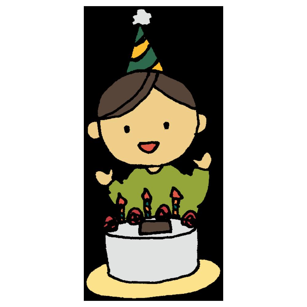 誕生日のケーキを食べる男の子のフリーイラスト