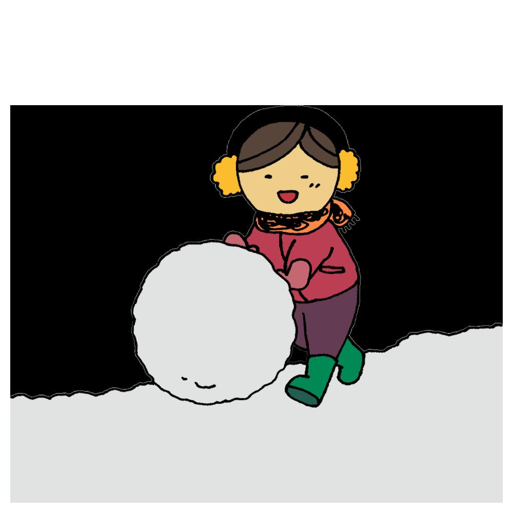 雪玉を作って遊ぶ女の子のフリーイラスト