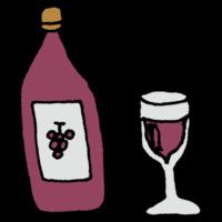グラス,瓶,果実酒,手書き風,飲み物,飲む,お酒,ワイン,葡萄,酒,洋酒,アルコール,酔う,酔っ払い,ほろ酔い,飲まれる