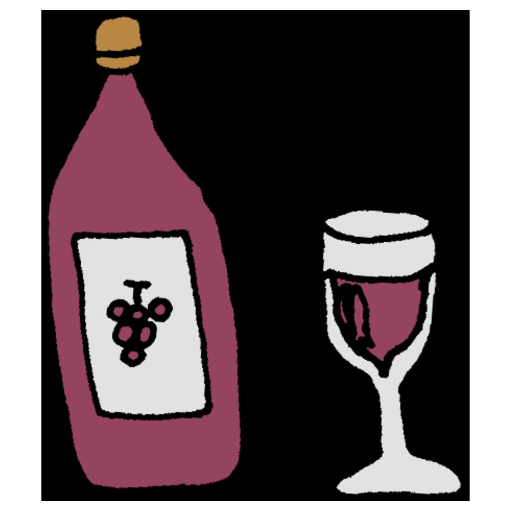 瓶とグラスに入ったワインのフリーイラスト