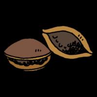 手書き風,食べ物,食べる,食べた,料理,どら焼き,甘い,ドラ焼き,スイーツ,甘味,美味しい,甘味処,餡子,和菓子