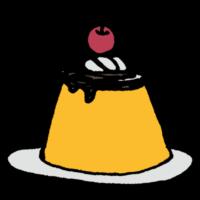 手書き風,食べ物,食べる,食べた,料理,甘い,おやつ,プリン,さくらんぼ,ぷるぷる,デザート,スイーツ