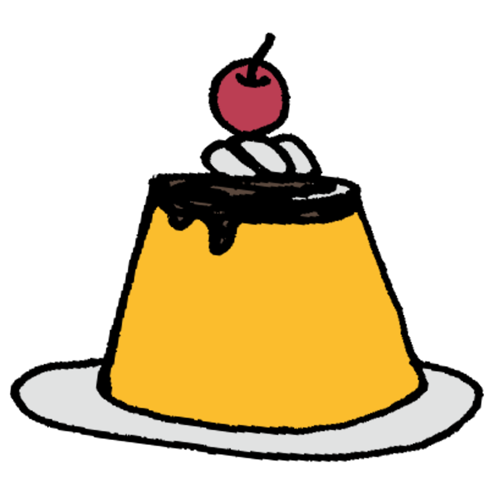 生クリームとさくらんぼののったプリンのフリーイラスト