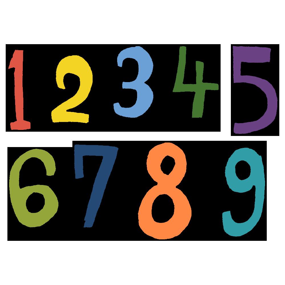 手書き風,記号,数字,番号,1,2,3,4,5,6,7,8,9,数える,数,算数,数学,勉強,足し算,引き算,学校,学ぶ,すうじ,NO,ナンバー