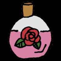 バラの香りの香水のフリーイラスト