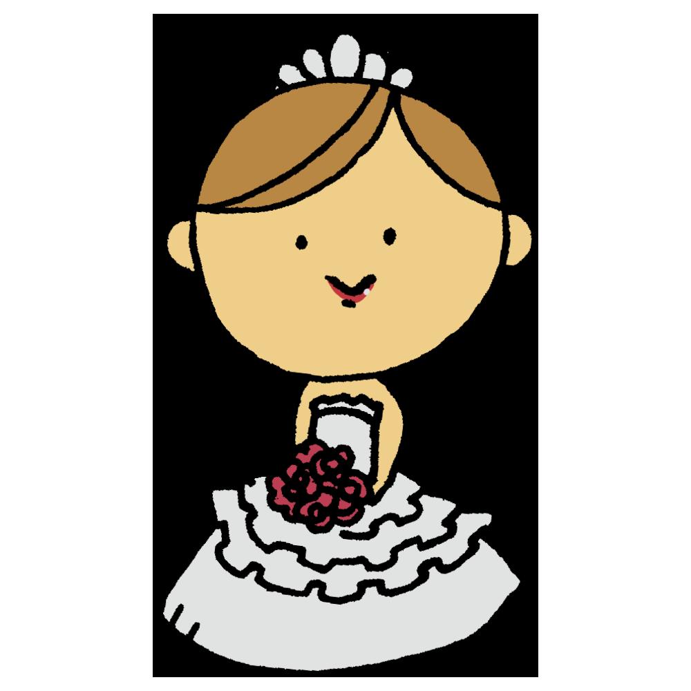 ウエディングドレスを着た女性のフリーイラスト