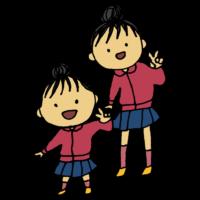 幼稚園児の妹と小学生のお姉ちゃんのフリーイラスト