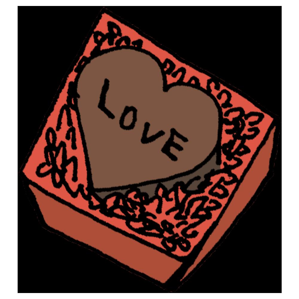 大きなハートのチョコレートのフリーイラスト