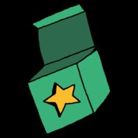 星が描かれた箱のフリーイラスト