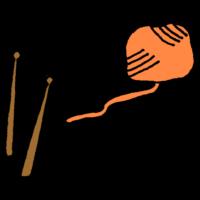 毛糸と編み棒のフリーイラスト