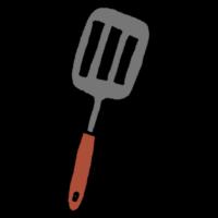 手書き風,フライ返し,ヘラ,キッチン,キッチン用品,調理道具,焼く,裏返す,料理,作る,調理,炒める,ひっくり返す,返す,手料理,料理教室