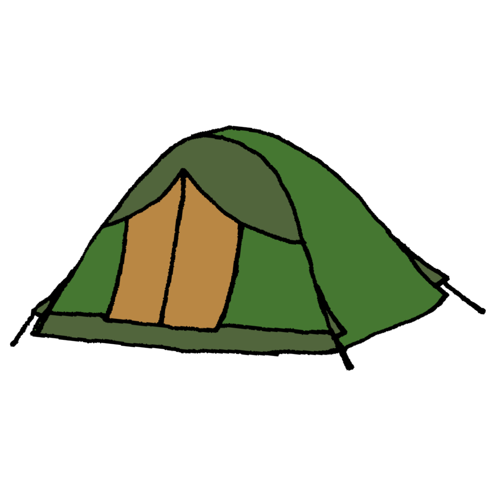 手書き風,アウトドア,テント,キャンプ,野宿,泊まる,宿泊,外,楽しい,遊ぶ,家族旅行,旅行,森,山,林,家,ハウス,張る,テントを張る,作る,建てる