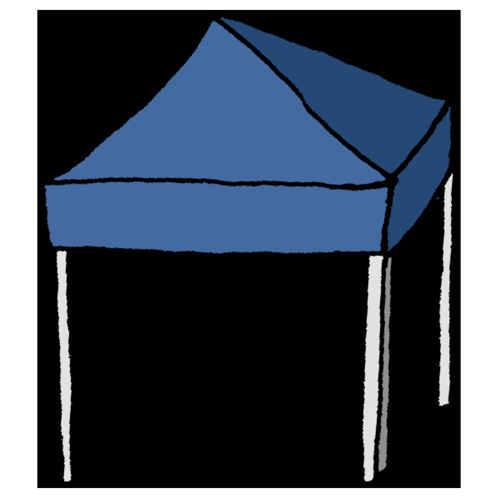 4つ脚で立つタイプのテントのフリーイラスト