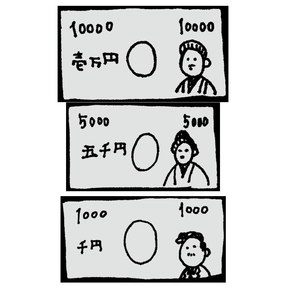 日本のお札のフリーイラスト