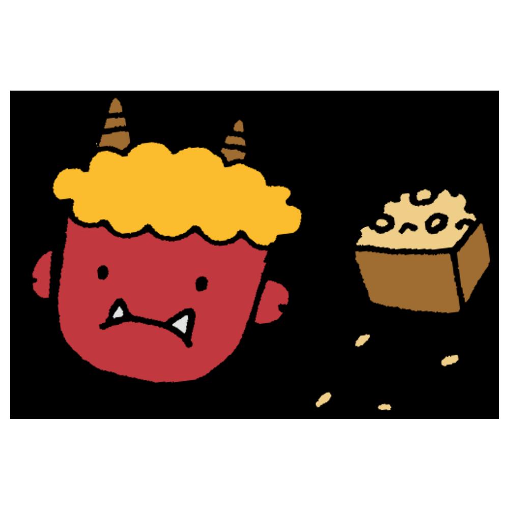 鬼のお面と豆のフリーイラスト