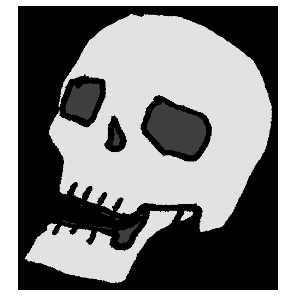 手書き風,身体,体,骨,骸骨,ドクロ,頭蓋骨,頭,人間,固い,怖い,ハロウィン,禍々しい