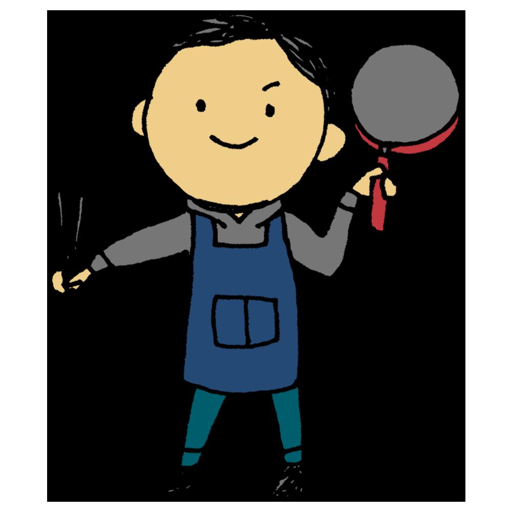 料理をする男性のフリーイラスト