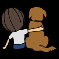 子供と犬の後姿のフリーイラスト