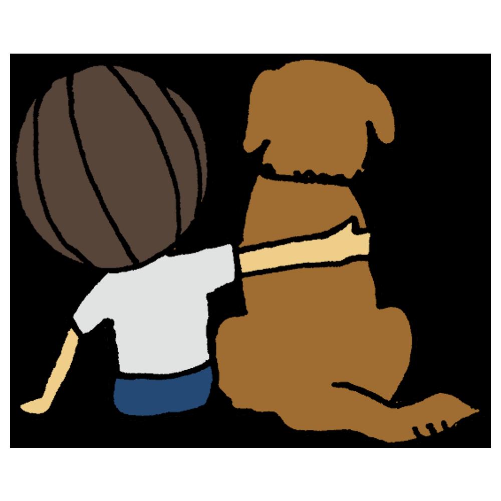 手書き風,人物,男の子,犬,わんちゃん,ワンちゃん,わんこ,犬,大型犬,子供,子供と犬,ペット,家族,友達,仲良し,大好き,好き,後姿,後ろ姿,座る
