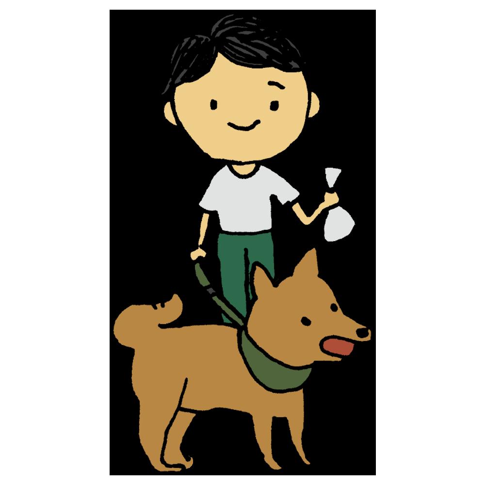 犬の散歩をする男の子のフリーイラスト