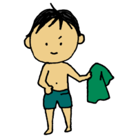手書き風,人物,男性,パンツ,着がえる,パンツ一丁,タオル,風呂上り,シャワー,風呂,お着がえ,履く,半裸