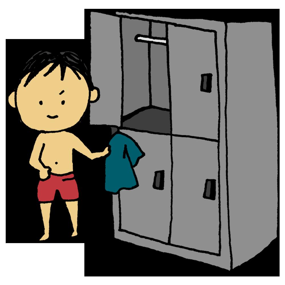 ロッカールームで着がえる男性のフリーイラスト