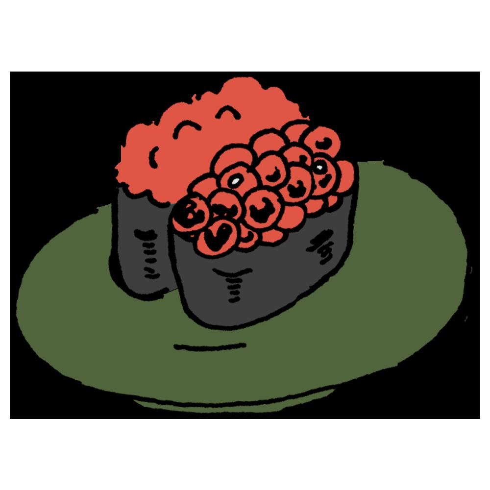 イクラのお寿司のフリーイラスト