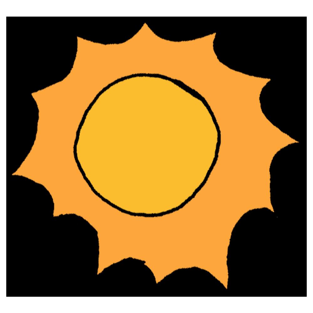 ギザギザした太陽のフリーイラスト