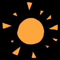 三角をちりばめたような太陽のフリーイラスト