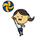 バレーボール,部活,バレー部,スポーツ,手書き風,ポニーテール,女バレ