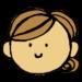 手書き風,人物,顔,体のパーツ,フェイス,女性,お団子頭,笑顔,茶髪,表情